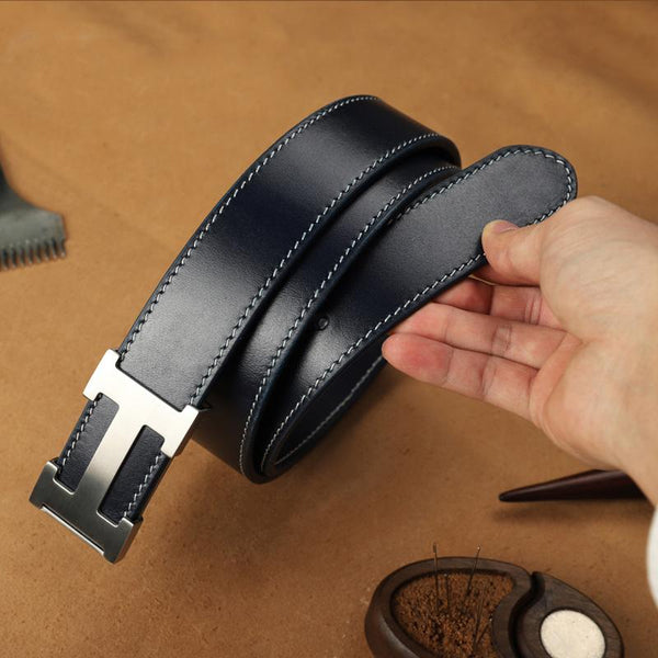 Handmade Mens Blue Leather Leather Belts PERSONALIZED Leather Belt for Men