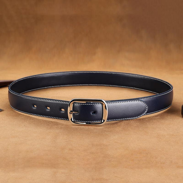 Handmade Mens Blue Leather Belts PERSONALIZED Fashion Blue Leather Belt for Men