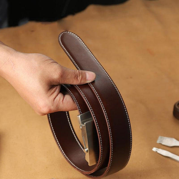 Handmade Mens Coffee Leather Belts PERSONALIZED Fashion Leather Belt for Men
