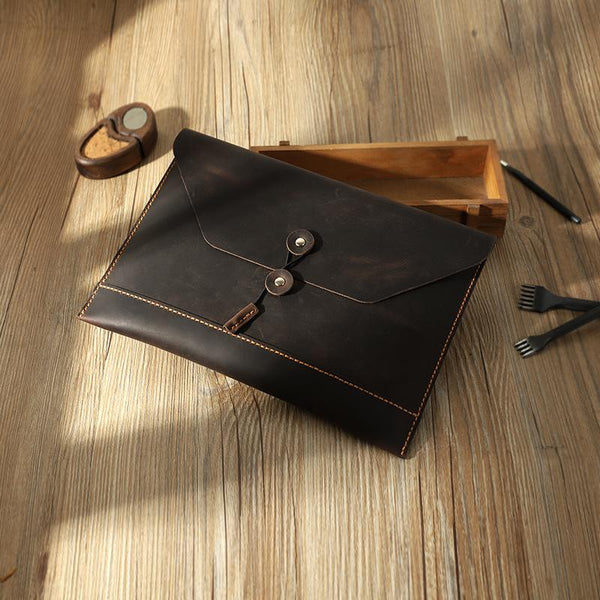 Handmade Coffee Mens Clutch A4 Envelope File Bag Personalized Coffee Leather Folder Purse for Men