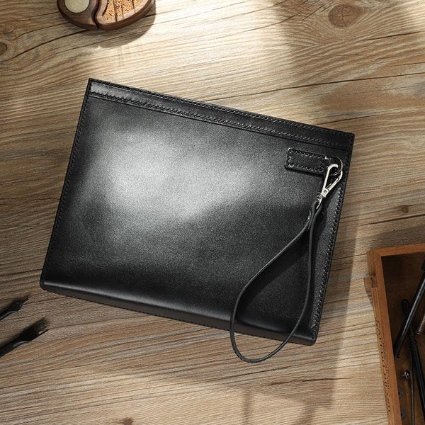 Handmade Mens Large Clutch Wallets Personalized Black Leather Wristlet Wallets for Men