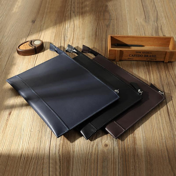 Handmade Mens Slim Clutch Purse Folder Purse Personalized Leather Envelope Bag for Men