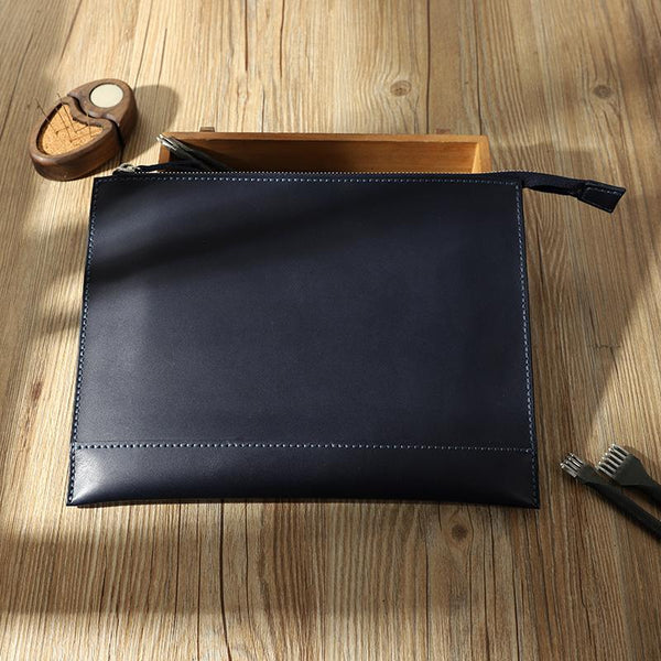Handmade Mens Slim Clutch Purse Folder Purse Personalized Blue Leather Envelope Bag for Men
