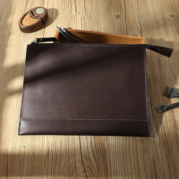 Handmade Mens Slim Clutch Purse Folder Purse Personalized Coffee Leather Envelope Bag for Men