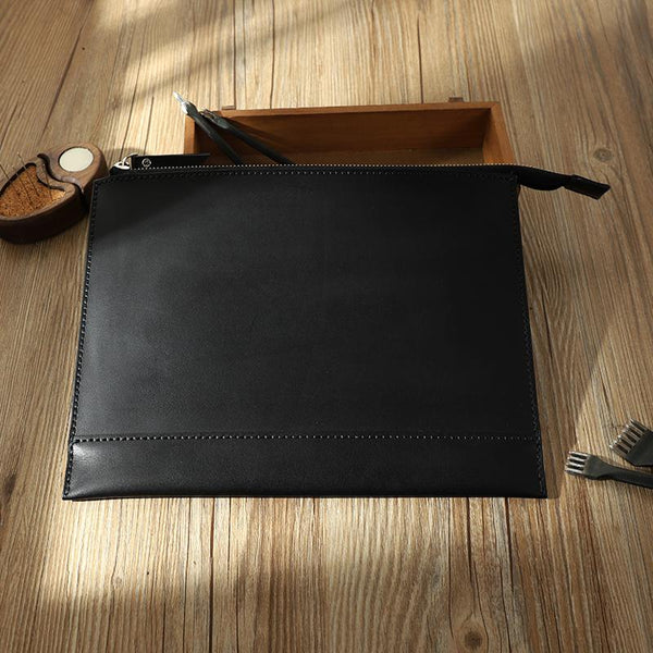 Handmade Mens Slim Clutch Purse Folder Purse Personalized Black Leather Envelope Bag for Men