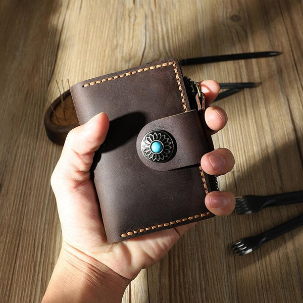 Handmade Vintage Coffee Leather Mens Keys Holder Keys Cards Wallet With Coin Pocket for Men