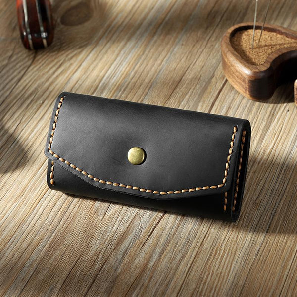 Handmade Vintage Black Leather Mens Keys Holder Keys Wallet Car Key Holders for Men