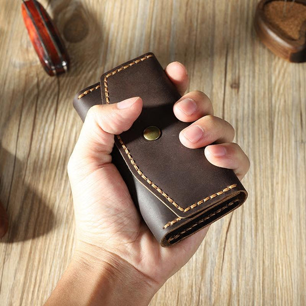 Handmade Vintage Coffee Leather Mens Keys Holder Keys Wallet Car Key Holders for Men
