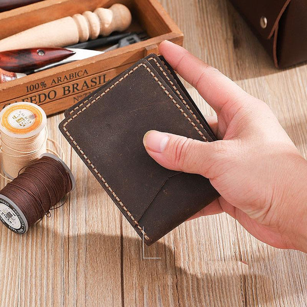 Handmade Coffee Leather Mens Licenses Wallet Personalized Bifold License Cards Wallets for Men