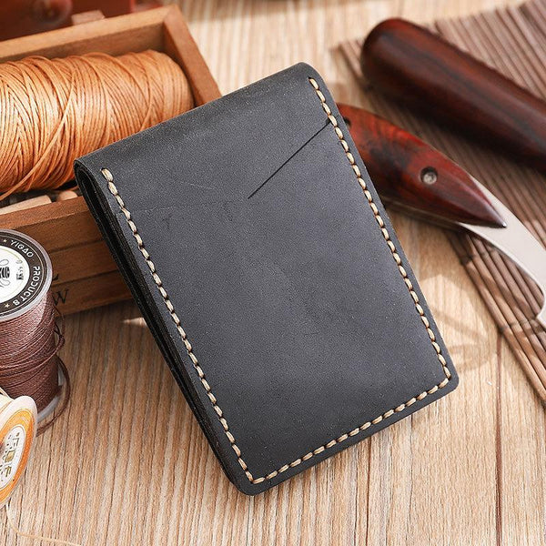 Handmade Black Leather Mens Licenses Wallet Personalized Bifold License Cards Wallets for Men