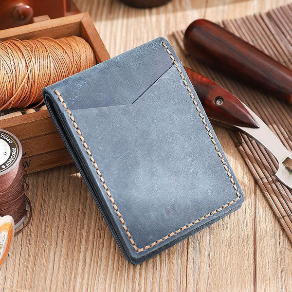 Handmade Blue Leather Mens Licenses Wallet Personalized Bifold License Cards Wallets for Men