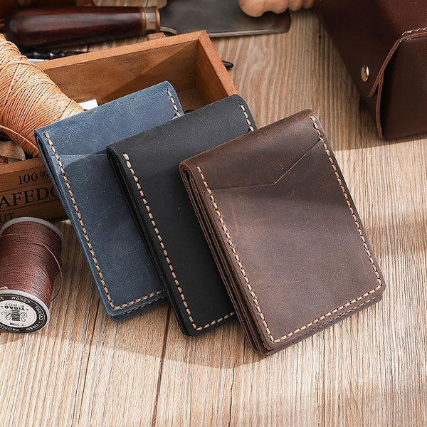 Handmade Vintage Leather Mens Licenses Wallet Personalized Bifold License Cards Wallets for Men
