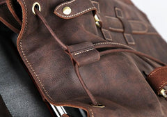 Handmade Genuine Leather Brown Mens Cool Backpack Large Travel Bag Hiking Bag for Men