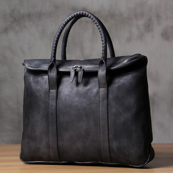 Mens Brown Gray Cool Leather Handbag Briefcase Handmade Genuine Vintage Work Bag Business Bag for men