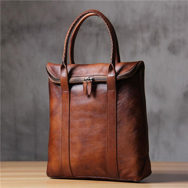 Mens Brown Gray Cool Handbag Handmade Genuine Leather Vintage Briefcase Work Bag Business Bag for men