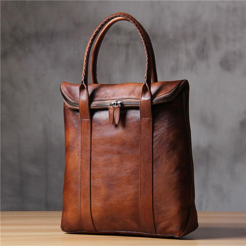 Cool Mens Gray Brown Leather Handbag Briefcase Handmade Genuine Vintage Work Bag Business Bag for men