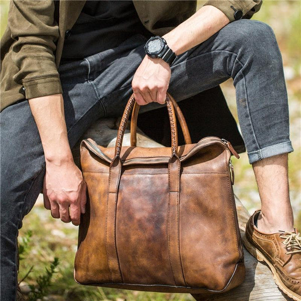 Handmade Genuine Leather Vintage Mens Brown Gray Cool Handbag Briefcase Work Bag Business Bag for men