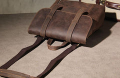 Handmade Genuine Leather Shoulder Bag Vintage Brown Mens Cool Backpack Travel Bag for men
