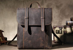 Handmade Genuine Vintage Brown Leather Mens Cool Backpack Shoulder Bag Travel Bag for men
