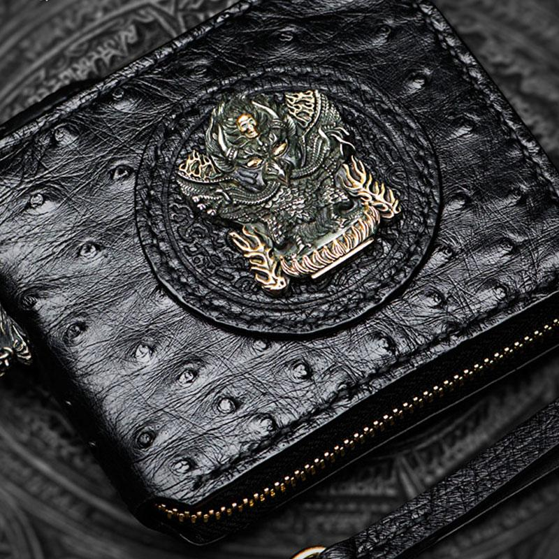Handmade Leather Black Biker Wallet Mens Cool Short Chain Wallet Trucker Wallet with Chain
