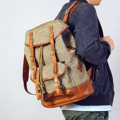 Handmade Leather Canvas Mens Cool Backpack Sling Bag Large Travel Bag Hiking Bag for Men