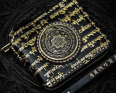 Handmade Leather Chain Wallet Tooled Tibetan Biker Wallet Mens Cool billfold Trucker Wallet with Chain