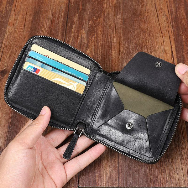 Cool Leather Mens Black Zipper Small billfold Wallet Leather Wallet Bifold billfold Wallets for Men