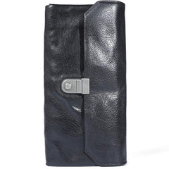 Handmade Black Cool Leather Mens Long Leather Wallet Bifold Clutch Wallet Phone Bag for Men