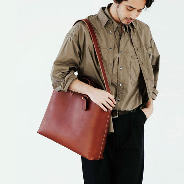 Handmade Leather Mens Cool Handbag Tote Shoulder Bag Work Bag Laptop Bag for Men