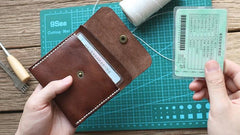 Handmade Leather Mens Front Pocket Wallet Card Wallet Slim Small Change Wallet for Men