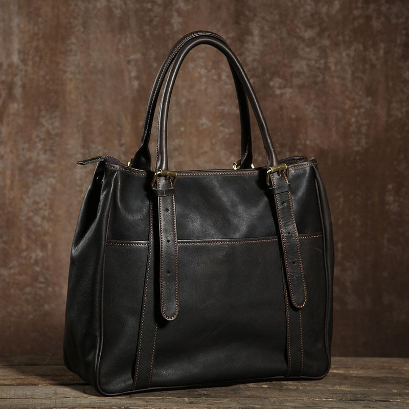Handmade Leather Mens Tote Bag Cool Handbag Shoulder Bag Work Bag Laptop Bag for Men