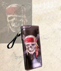 Handmade Leather Skull Pirate Mens Chain Wallet Biker Wallet Cool Leather Wallet Long Tooled Wallets for Men