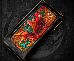 Handmade Leather Tooled Carp Chain Wallet Mens Biker Wallet Cool Leather Wallet Long Phone Wallets for Men