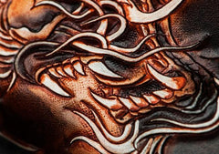 Handmade Leather Tooled Chinese Dragon Chain Wallet Mens Biker Wallet Cool Leather Wallet Long Phone Wallets for Men