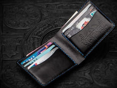 Handmade Leather Tooled Chinese Lion Mens billfold Wallet Cool Slim Wallet Biker Wallet for Men