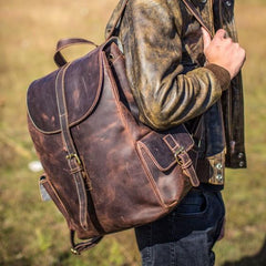 Handmade Leather Vintage Coffee Mens Cool Leather Backpack Travel Bag for men