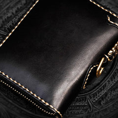 Handmade Mahākāla Leather Black Biker Wallet Mens Cool Short Chain Wallet Trucker Wallet with Chain