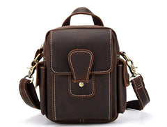 Vintage Brown Leather Mens Small Side Bag Tablet Bag Belt Bag Camera Bag For Men