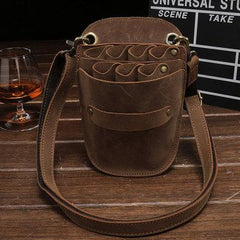 Leather Belt Pouch Men Hairstylist Tool barber pouch scissor case