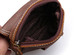 Leather Belt Pouch Mens Small Waist Cases Waist Bag for Men