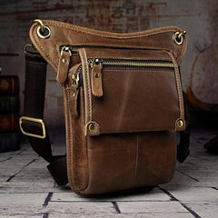 Leather Drop Leg Bag Belt Pouch Mens Waist Bag Shoulder Bag for Men