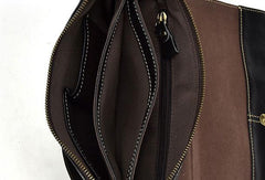 Cool Leather Mens Black Messenger Bag Shoulder Bag for Men