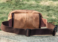 Leather Men Fanny Pack Waist Bag Hip Pack Belt Bag Bumbag for Men
