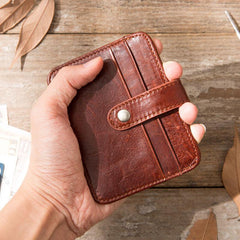 Leather Mens Card Holder Slim Front Pocket Wallet Card Wallets for Men