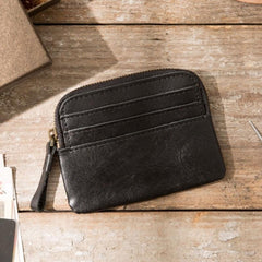 Leather Mens Coin Holders Slim Front Pocket Wallet Change Wallet for Men