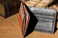 Leather Mens Slim Front Pocket Wallet Card Wallet Black Card Wallet for Men