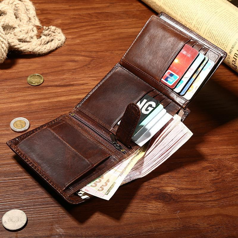 Leather Mens Small Wallet Slim Trifold Vintage Wallet for Mens