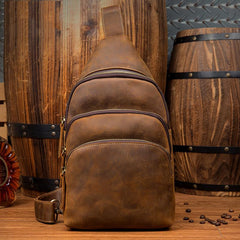 Casual Brown Leather Mens Sling Pack Sling Bags Chest Bag One Shoulder Backpack for Men