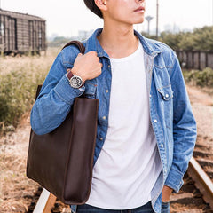 Mens Coffee Black Tote Bag Leather Vintage Cool Handbag Shoulder Bag for Men