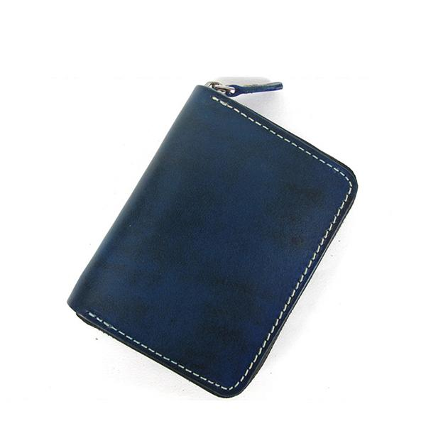 [On Sale] Handmade Cool Mens Leather Small Wallet billfold Wallets with Zippers